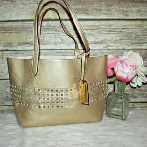 Ralph Lauren Leighton Gold Faux Leather Tote